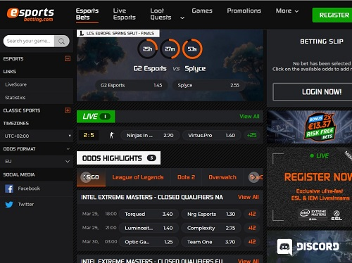 esportsbetting.com Screenshot
