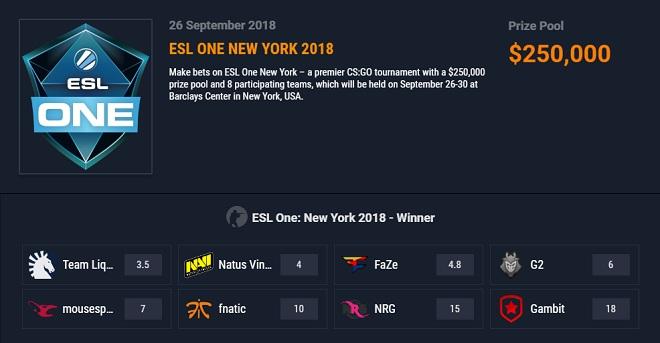 ggbet esl one new york 2018