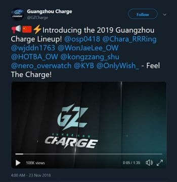 Guangzhou Charge announce Overwatch League Roster
